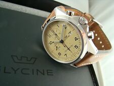 NEW Glycine 3924.15AT-LB7BH Combat Automatic Chronograph Creme Dial Brown Strap