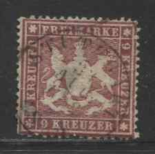 1860 German States WURTTEMBERG  9 Kreuzer Cote of Arms  used, € 150.00