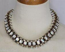 J CREW CRYSTAL BOX NECKLACE CLEAR CRYSTAL AND GOLD NWT E5447 BEAUTIFUL!