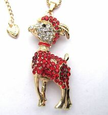 Betsey Johnson shiny red crystal Cute little goat pendant Necklace,#296L,R