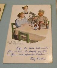 1918 WWI German Feldpost The Philanderer Soldier Drinking Beer Military Postcard