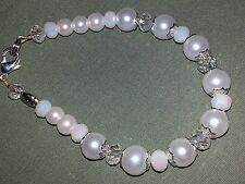 White glass pearl and crystal bracelet, Lung cancer awareness