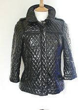 See by Chloé Black quilted faux patent leather jacket UK 6