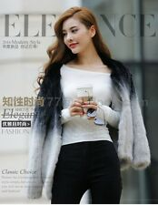 100% Real Genuine Knitted Mink Fur Coat/Jacket Hoody Hat Women's Coat Clothing