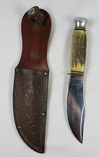 "Vintage JOWIKA SOLINGEN GERMANY 8 1/4"" STAG HANDLE HUNTING KNIFE"