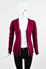 Nina Ricci Raspberry Pink Wool Silk Crepe Panel Cardigan Sweater Top SZ S