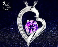 Mom's UK 925 Sterling silver Heart Purple Zircon Pendant Necklace Gifts Jewelly