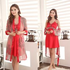 New Womens 2 pcs Sleepwear Bath Robes Nightdress Night Gown Pajamas Silk blend