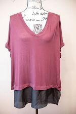 Purple Two Tier Blouse, 3XL purple and black V neck