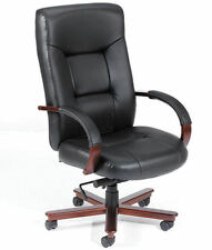 CONFERENCE CHAIR Genuine Leather with Wood Executive President Office Mahogany