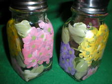HAND PAINTED SALT AND PEPPER SHAKERS IN PINK, PURPLE AND YELLOW HYDRANGEAS