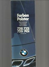 +++ NOW REDUCED +++ BMW 7 SERIES COLOURS & UPHOLSTERY BROCHURE 1982 1983