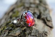 Dragons Breath,Mexican Fire Opal ring, set in a ring of hearts,Sterling Silver