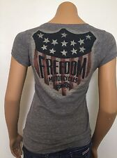 """Lucky Brand """"Freedom Motorcycles"""" V Neck Gray Speckled Comfy Tee Fitted SMALL"""