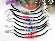 9PCS Mixed Colour Beaded Velvet Childrens bracelets #21590