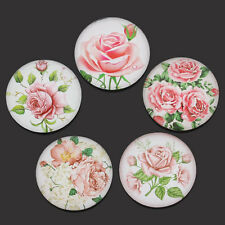 20 Glass Cabochons Flower Pattern Flatback Round Jewelry Making DIY Cameo 25mm