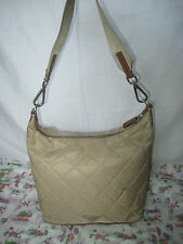 100% Authentic PRADA Khaki (Brown) Quilted Nylon/Saffiano Leather Trim Hobo Bag