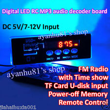 DC 5V 12V Remote Control MP3 Decoder Board TF Card FM U-Disk AUX Power Car