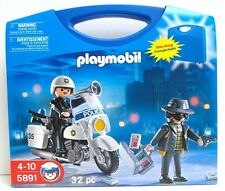 Playmobil 5891 Playset 32 pc. Police Robber Motorcycle Blue Carry Case New Toy