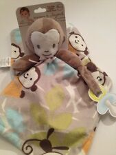 Blankets & And Beyond Baby Boy Aqua Blue Monkey Security Lovey Blanket Layette