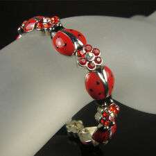 RED CERAMIC CRYSTAL LADYBUG STRETCH BRACELET MADE WITH SWAROVSKI ELEMENTS