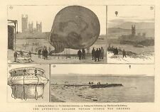 1882 THE ATTEMPTED BALLOON VOYAGE ACROSS THE CHANNEL MESSRS BRINE AND SIMMONS