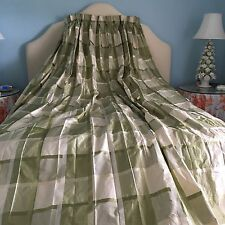 "Custom Made Silk Taffeta Pinch Pleated Lined Drapes Curtains Pair 86"" x 136 1/2"""