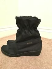Black Sanitex Winter Fleece Lined Elasticated Mid Calf Boots Size 5 Eu 38