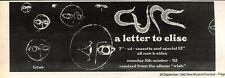 26/9/92PGN61 THE CURE : A LETER TO ELISE SINGLE ADVERT 3X11""