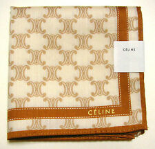 CELINE - handkerchief mini scarf bandanna Beige Logo cotton Auth New JPN Limited