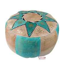 Moroccan Leather Pouf STUFFED Vintage Genuine Leather Turquoise Fes Design