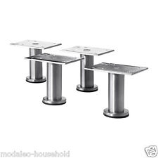 4x Small IKEA CAPITA 8-9cm Stainless Steel Kitchen Cabinet Legs for METOD -B111