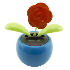 Dancing Rose Solar Powered Flip Flap Toy Flower Pot Plant Bobble Swing Blue New