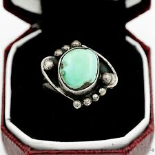 Antique Vintage Sterling Silver Native Pawn Navajo Blue Bird Turquoise Ring Sz 5