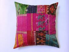 OLD VINTAGE INDIAN ANTIQUE IKAT SILK HANDMADE PATCHWORK KANTHA CUSHIONS LOT10 PC
