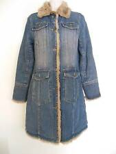 Charles Klein  Retro Jean Coat Long Sleeve Button Cuff Thick Trench Faux Fur  M