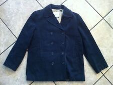J. CREW - Womens Navy Blue Peacoat, Quilted Lining, Sz LARGE - Coat Jacket