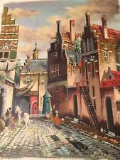 Ten Hoven Oil on Canvas Original Painting Village Scene Dutch Master