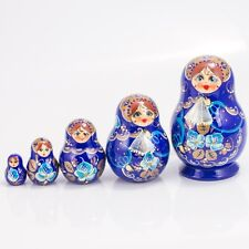 Russian Doll Nesting Doll Matryoshka Made in Russia 4'' Hand Painted 5 pc Blue