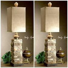 TWO NEW IVORY BROWN LAYERED STONE TABLE LAMPS PALOMINO SUEDE SHADES DESK LIGHT