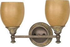 Dorado Bronze 2 Light Bath Wall Fixture With Sepia Glass