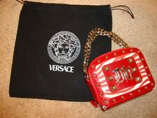 VERSACE COUTURE CHAIN Wristlet Red/ White PONY HAIR Studded MINI Purse Wallet