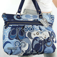 New Coach Poppy Denim Applique Glamour Shoulder Hand Bag Tote 15375 New RARE