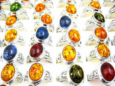 Hot Sale 10pcs Mix Amber Silver Plated Mens Rings Wholesale Jewelry Lots J75
