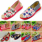 Women Multi Colour Flat Dolly Pumps Ballet Ballerina Ladies Canvas Loafers Shoes