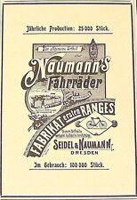 Seidel & Naumann Fahrräder Dresden Reklame Inserat Werbung Anzeige Druck 1897