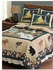 "QUEEN LOG CABIN ""QUILT"" lodge BEARS RACOONS MOOSE DUCKS OWL WOLVES bedding"