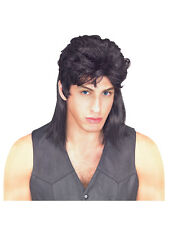 Mens 80's Black Mullet Wig Jason Donovan Classic Fancy Dress Costume Accessory