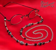 Gothic Punk SKULL BEADED EYEGLASS CHAIN Black Silver Reading Glasses Holder F01