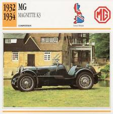 1932-1934 MG K3 Magnette Racing Classic Car Photo/Info Maxi Card